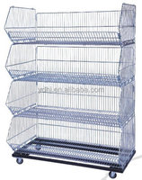 Folding wire mesh stacking cage