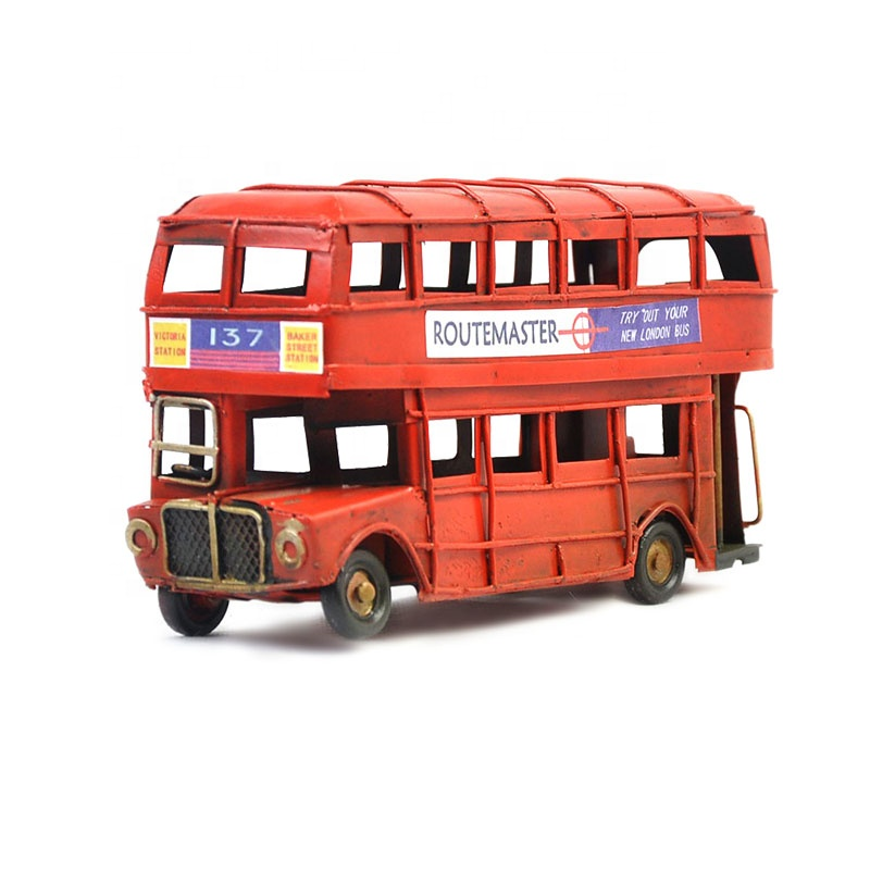Vintage 137 London Transport Route Master Bus Double Decker Metal Retro Model Bus Toy Gifts <strong>Crafts</strong>