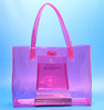 Top quality clear pink transparent tote bag with pocket