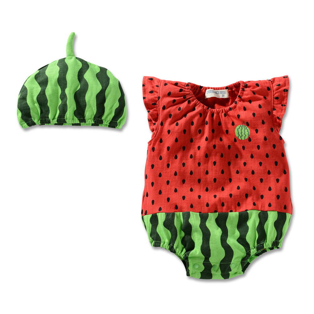 Summer sleeveless fruit shape OEM hooded baby rompers