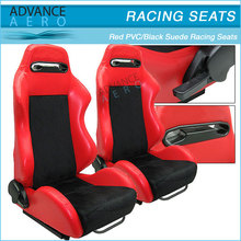 FOR VOLKSWAGEN 2 TONE RED PVC / BLACK SUEDE AUTO SPORT SEATS RECLINABLE SLIDER WHOLESALE RECLINER