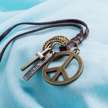 Cheap initial leather necklace Men and women necklace with alloy ball