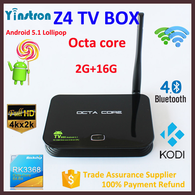 Z4 RK3368 Octa Core 2GB 16GB Bluetooth 4.0 3D Kodi smart android 5.1 tv box