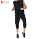 Men Hipster Hip Hop Active Lightweight Pullover Sleeveless Hoodie Sweatshirt With Drawstring Shorts Solid Cotton Sweat Suit