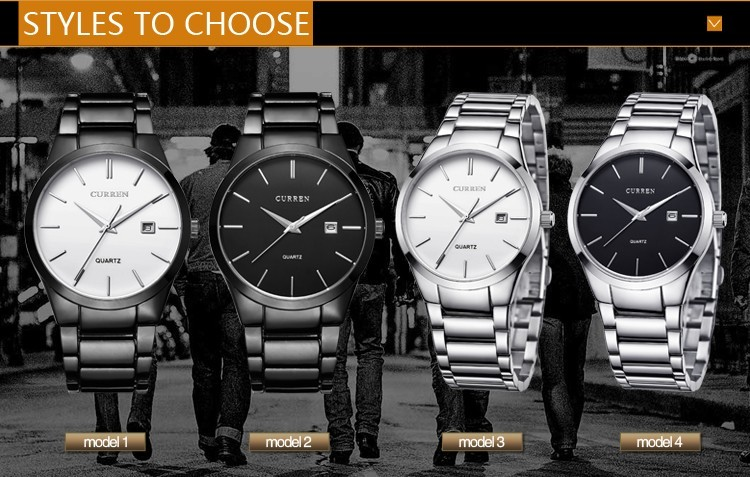 8106 CURREN Luxury Brand Full Stainless Steel Analog Display Date Men's Quartz Watch Business Watch Men Watches