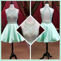 MZY856 light green crystal beaded open back sexy simple short cocktail dress mini young girl dress