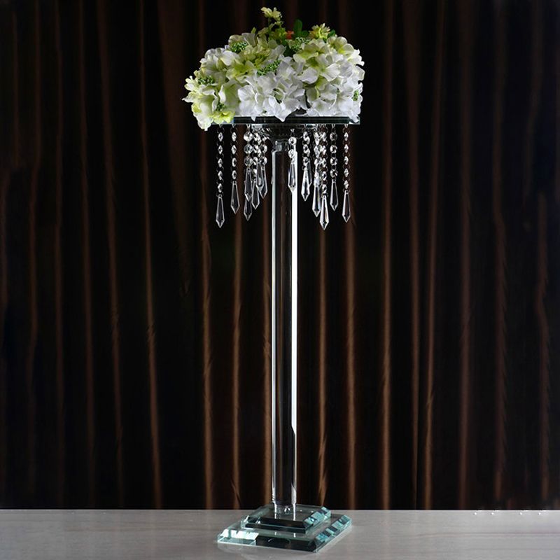 Cheap custom size crystal glass flower stand