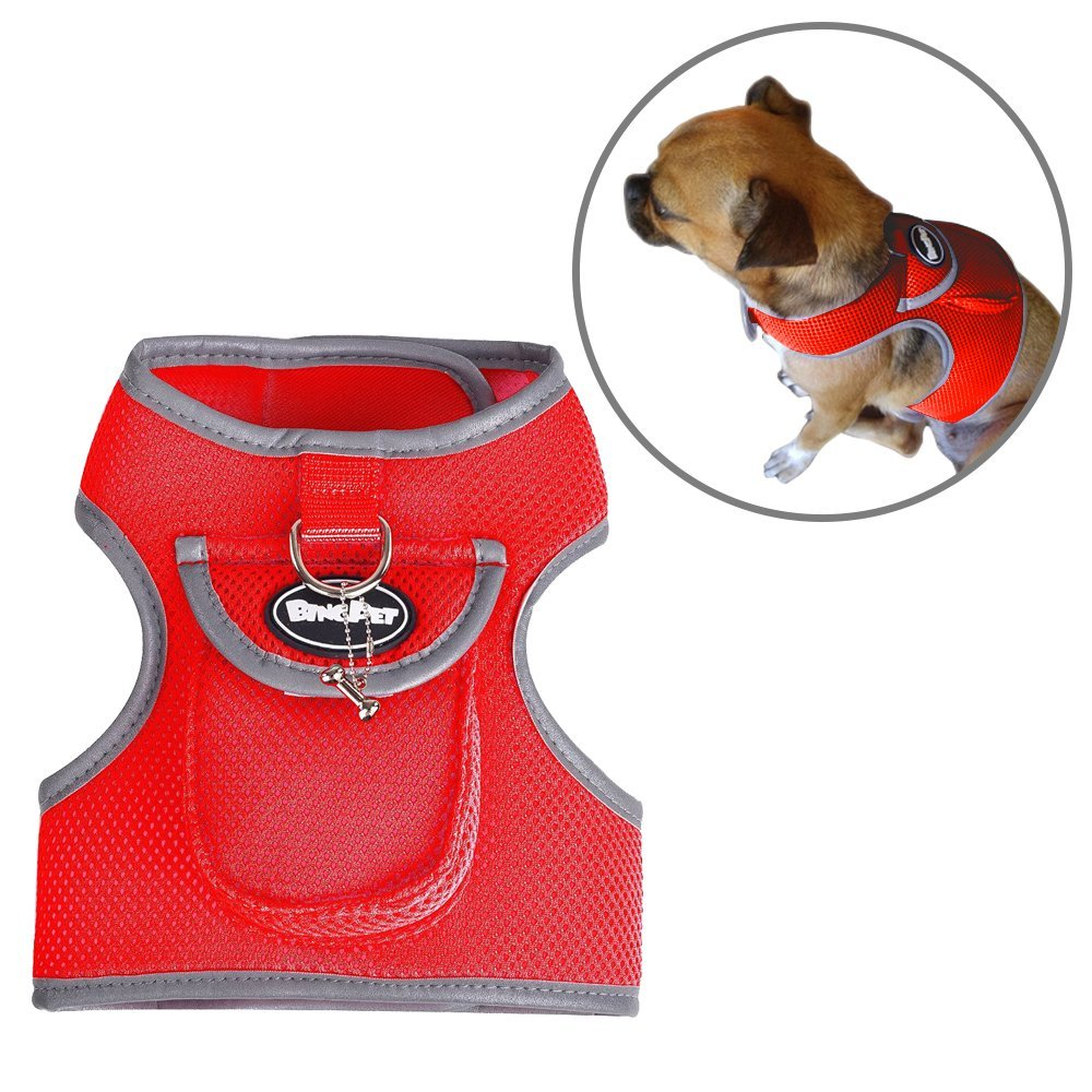 New Design Dog Backpack Harness Puppy Vest Soft Mesh Pet Padded Harnesses with Pocket
