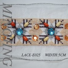 LACE-E025 In 2012, the latest crystal mechanism of jacquard/ Embroidered lace