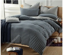 Brand new polyester gray blue printing stripe comforter