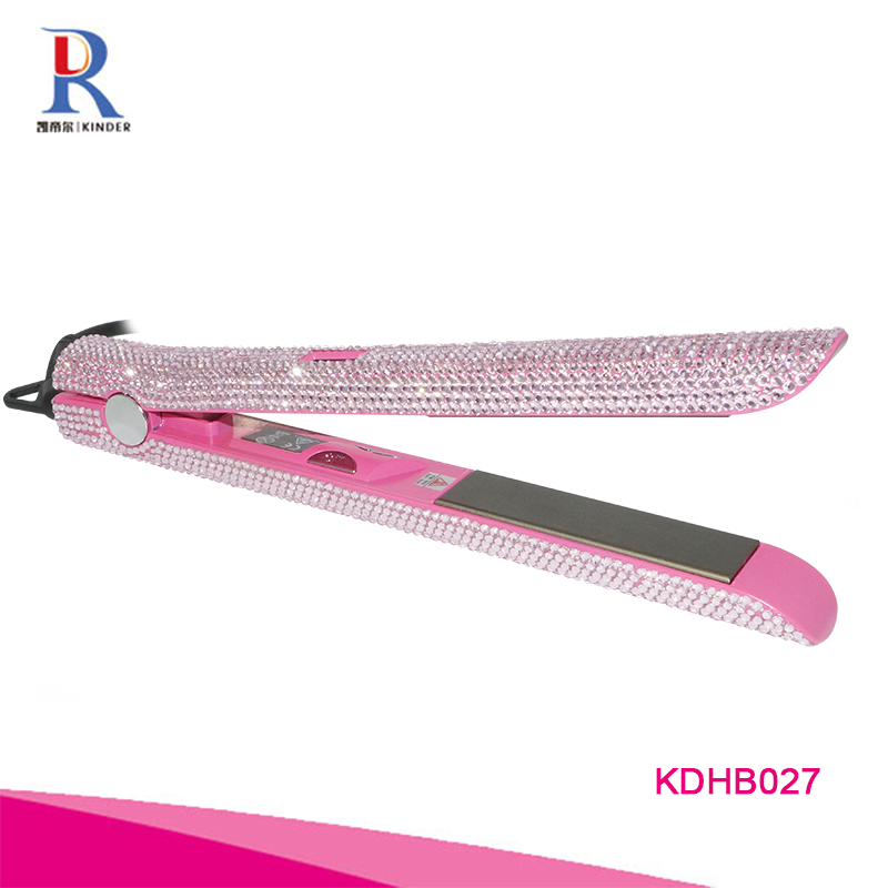 Factory price crystal hair straightener iron professional high temperature salon hair flat iron