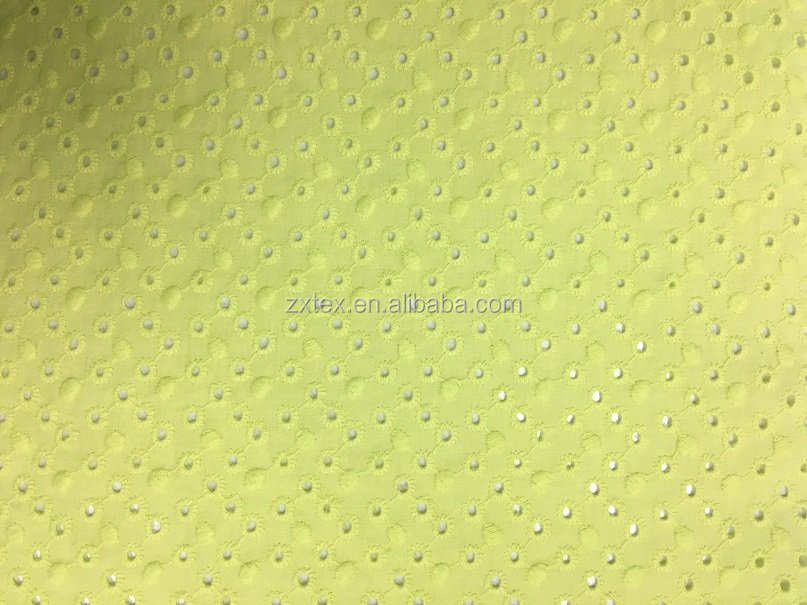 Yellow color, Polka Dots embroidery Cotton Eyelet fabrics for Girls dress
