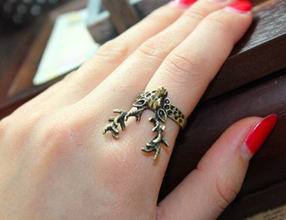 Wholesale Fashion Unique exaggeration retro Alloy Ring Deer Fashion Finger Ring