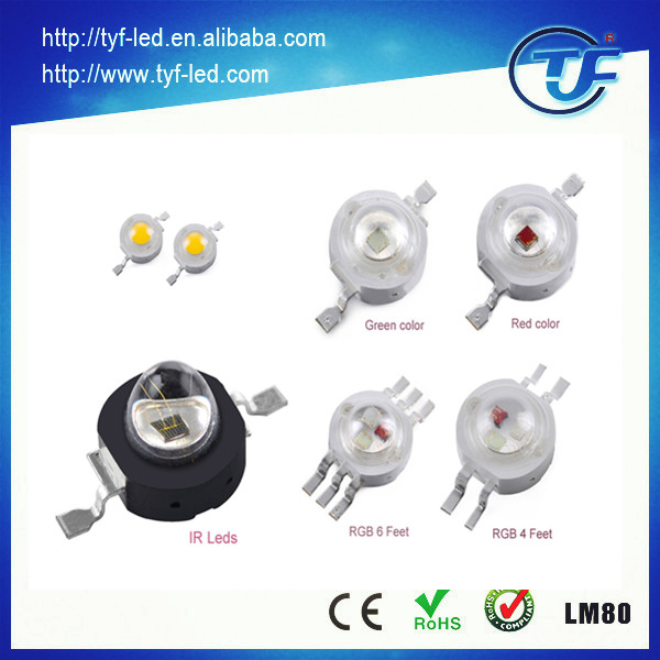 High efficiency high power 1W 2W 3W UV IR Red Blue Green LED RGB