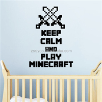 ZOOYOO keep calm and play mine carft for stickers music quotation wall decals black good vinyl decorations (8325)