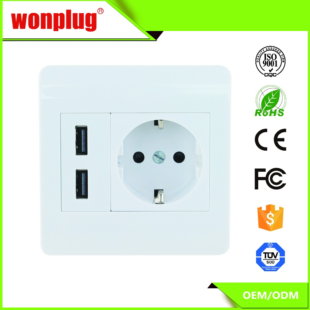 Europe power ac wall socket with usb ports