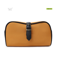 Guangzhou factory favorable natural orange microfiber plain makeup bag for cosmetics