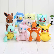 8-12cm Poke Pikachu Bulbasaur Charmander Piplup Squirtle Mini Plush <strong>Toys</strong> with hook keychain Stuffed Doll