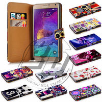 For Samsung Galaxy Note 4 Case Print Flip PU Folio Wallet Book Style Leather Case Cover Moible Phone Csaes