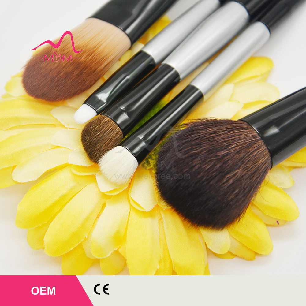 high quality new premium Face cosmetic brush sets 5pcs Makeup Brushes Sets horse hair+PVC bag cosmetic tools