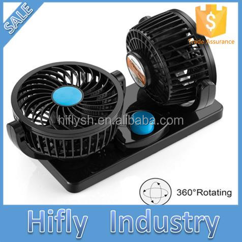 2 Head 360 Degree Rotating Car Fans Strong Wind Low Noise Car Air Conditioner Portable Auto Air Cooling Fan For 12V/24V Cars