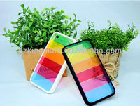 Colorful Rainbow Plastic Cover with TPU Bumper Lims case for iPhone 5 5G