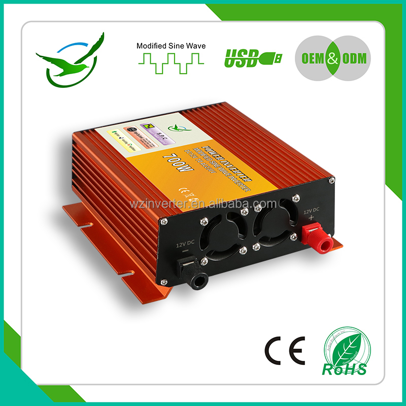 Small Size single phase watt voltage converter solar panel micro 120v-240v <strong>dc</strong> to ac 220v 12v 700w ac transformer car inverter