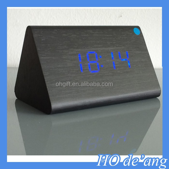 HOGIFT Cheap LED Alarm Clock Temperature Sounds Control display electronic desktop Digital Wooden table clocks