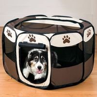 Pet Dog Zipper Oxford Tent Folding Puppy Kennel Portable Playpen Fence Cage
