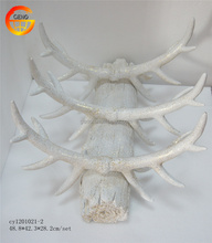 Hot selling resin white glitter deer antler