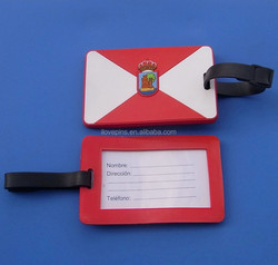 Spain country flag design soft pvc golf bag tags wholesale