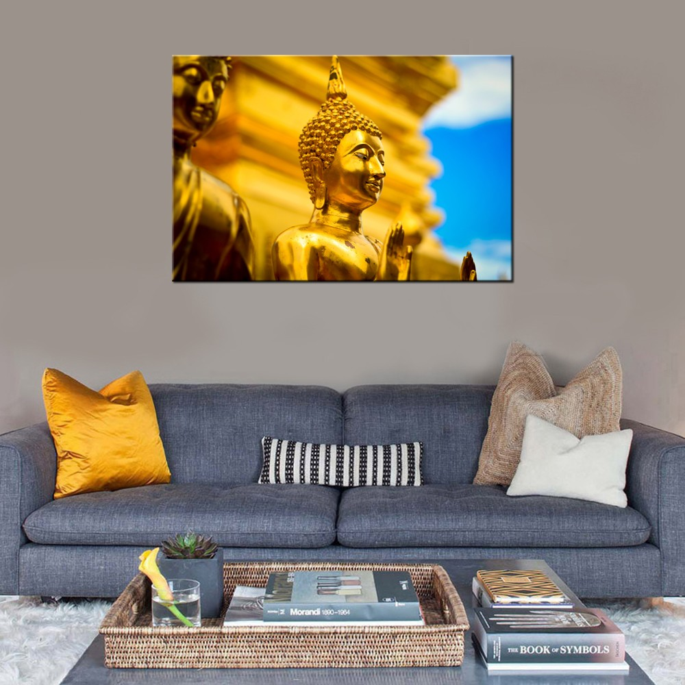 Thai Buddha Stretched Canvas Painting/Gold Buddhism Canvas Print/Modern Buddhist portrait on Canvas