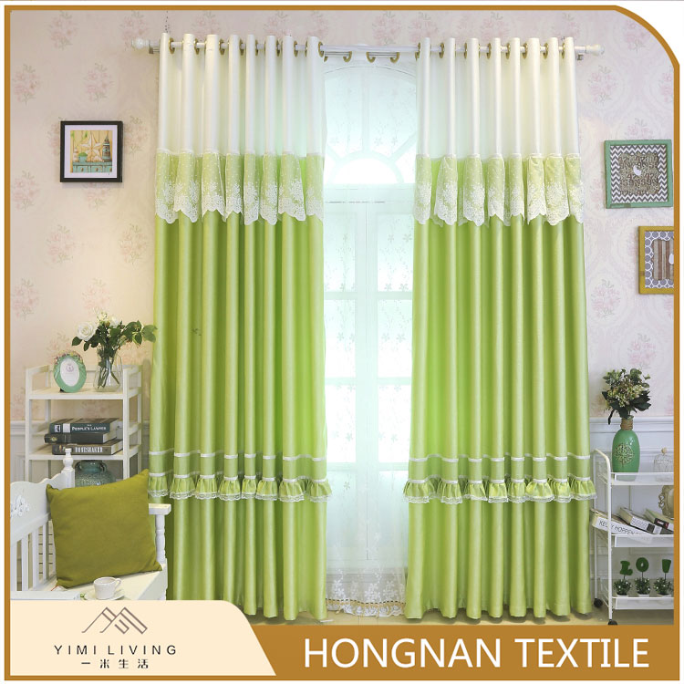 Top quality best price of green custom made lace cafe curtain for windows