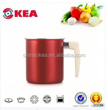 14*11cm Kitchen art ceramic pot with soft-touch handle beer pot can use glass lid or S/S lid milk boiling pot