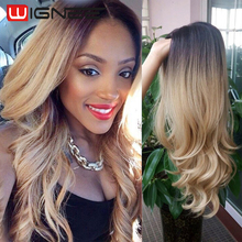 Ombre Blonde Color Wigs 26 Inches Non Lace Synthetic Wigs Cheap Natural Wear Wigs