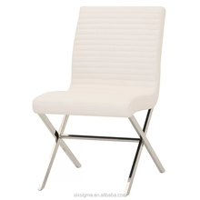 Franch style modern flat metal tube side dining chair