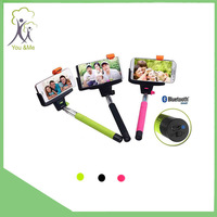 Wireless bluetooth Shutter handheld smartphone monopod with Clip Holder aluminum for All Brand Phone