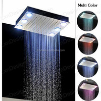 2016 top bathroom design electronic power multi color change chrome rainfall led shower head