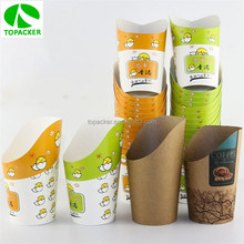 Eco-friendly disposable paper hot chip cup