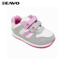 SEAVO SS17 new fancy hook and loop plain white baby girls first comfortable walking shoes