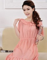 F70037S The new cute pajamas ms nightgown wave point ice silk cotton nightgown women's summer