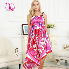 Silk Nightgown Bathrobe Fleece Sleepwear Woman pajamas casual Floral Robe Nighties Home Clothing Nightdress Plus size