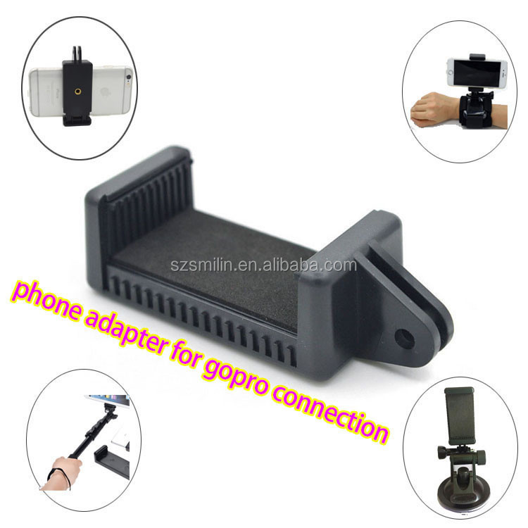 Universal Phone <strong>Adapter</strong> for iPhone 6s 6+ Samsung S6 Monopod Stand with clip range 55-88mm