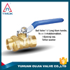 brass stem full port forged 600 wog stainless steel handle PTFE soft seated cast iron nuts DN50 brass ball valve
