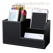 Home Office Desk PU Leather Stationery Organizer Pen Pencils Holder Storage Box