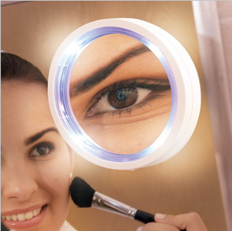 8x Swivel Brite LED Lighted Magnifying Travel Makeup Mirror