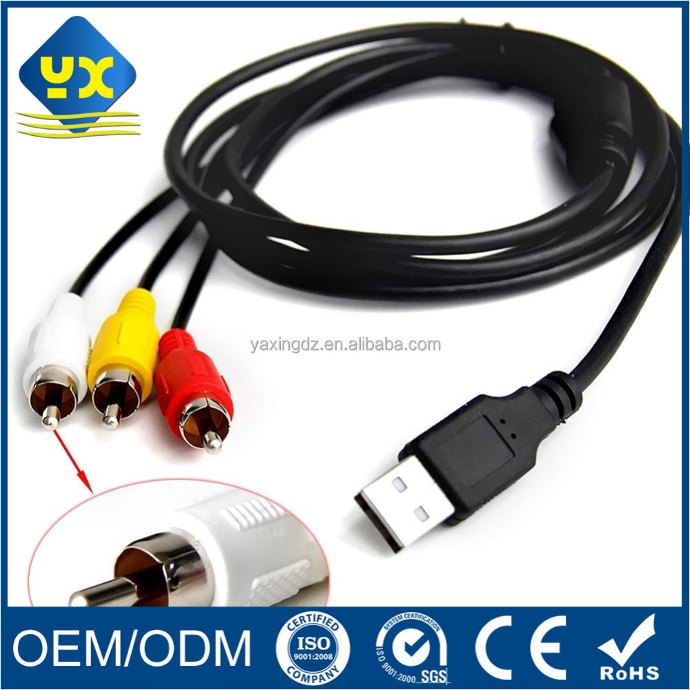 3 in 1 RCA Male adapter to USB 2.0 AM audio cable