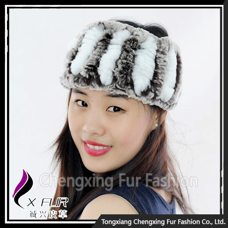 CX-E-37S China Wholesale Genuine Knitted Rex Rabbit Fur Headband