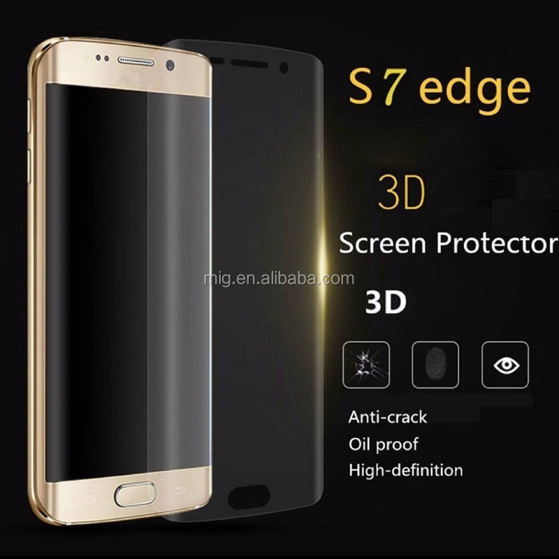 Anti-fingerprint cell phone Screen Protector for samsung s7 edge 3D PET Film for s7 edge