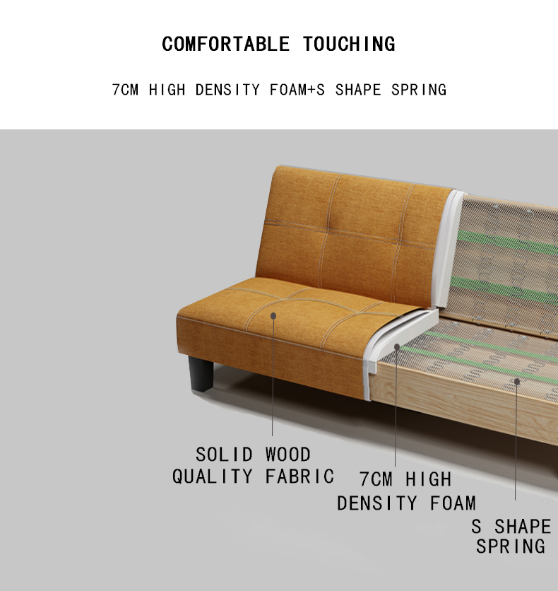 Colorful fabric leather modern folding sofa bed